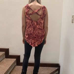 FREE PEOPLE Womens Red Cut Out Cap Sleeve Top